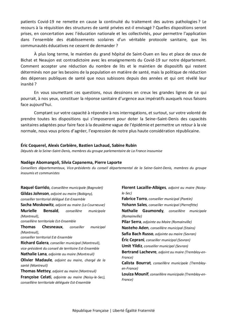 lettre situation sanitaire 3